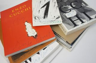 10 by Cucchi. Collection of 10 Books, all Signed or Inscribed by Enzo Cucchi