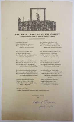 The Awful Fate of An Impenitent. Broadside poem]. Ernest Cowan